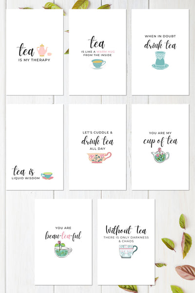 Tea Quotes Printable Greeting Card Bundle (8 Cards)