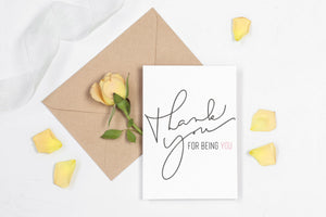 Thank You For Being You Printable Greeting Card