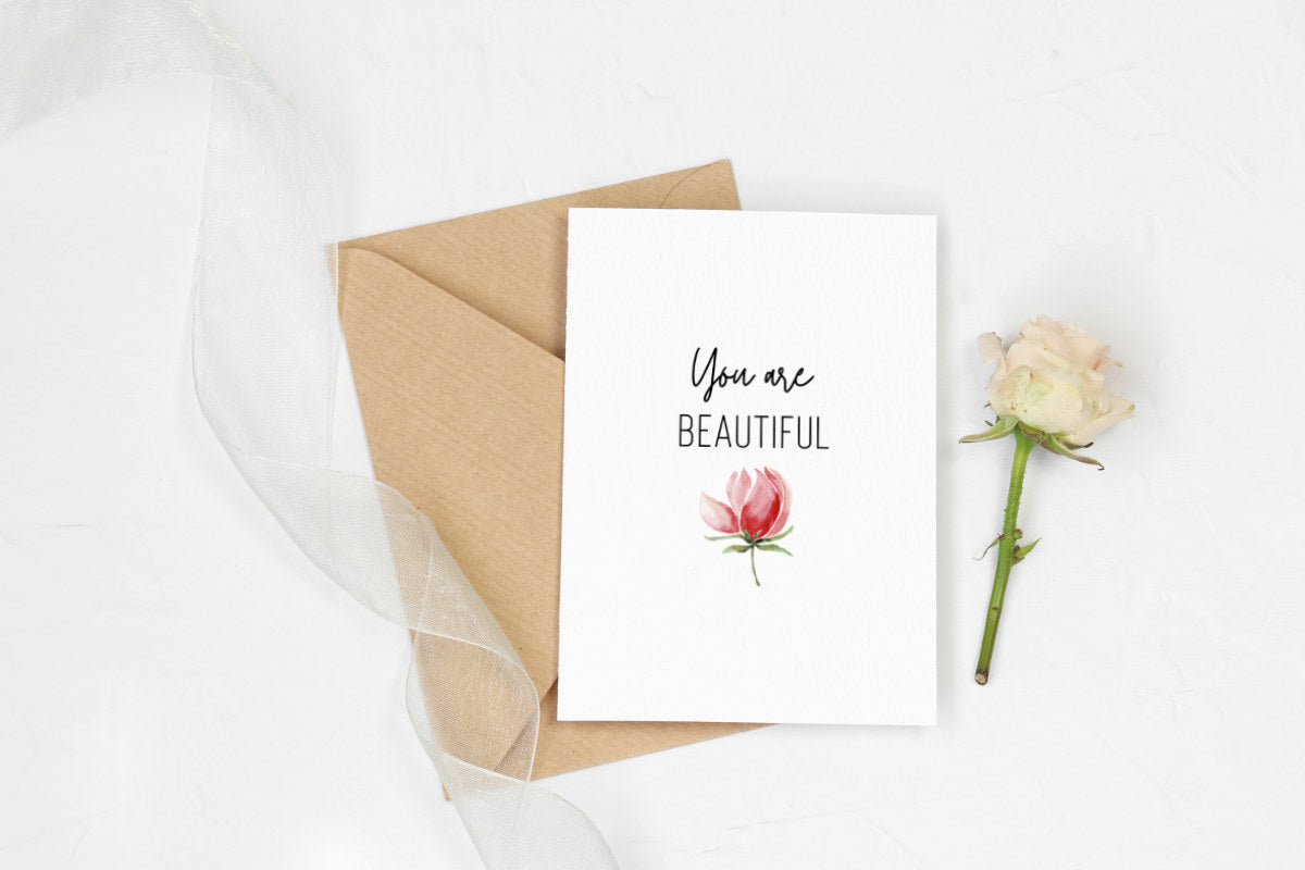 You Are Beautiful Printable Greeting Card