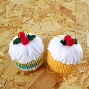 Big Knitted Christmas Pud Decorations (Pack of Two)