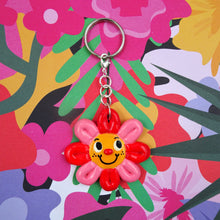 Load image into Gallery viewer, Still Groovy Flower Keyring Polymer Clay