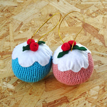 Load image into Gallery viewer, Big Knitted Christmas Pud Decorations (Pack of Two)