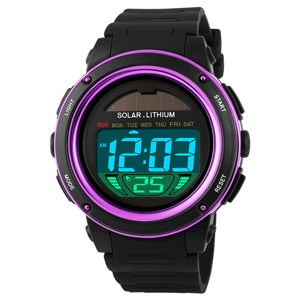 Hot Famous Brand Men Boys Solar Alarm Digital LED 50M Waterproof