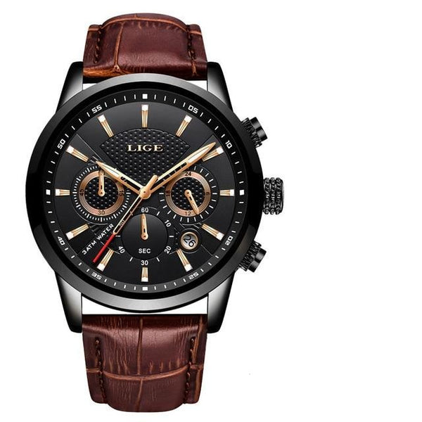 Mens Top Brand Leather Chronograph Waterproof Sport Automatic