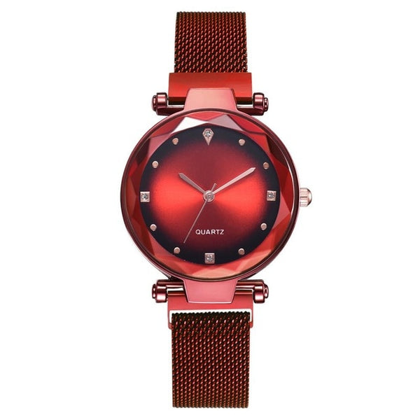 Women Watches Rose Gold Starry Sky Magnetic