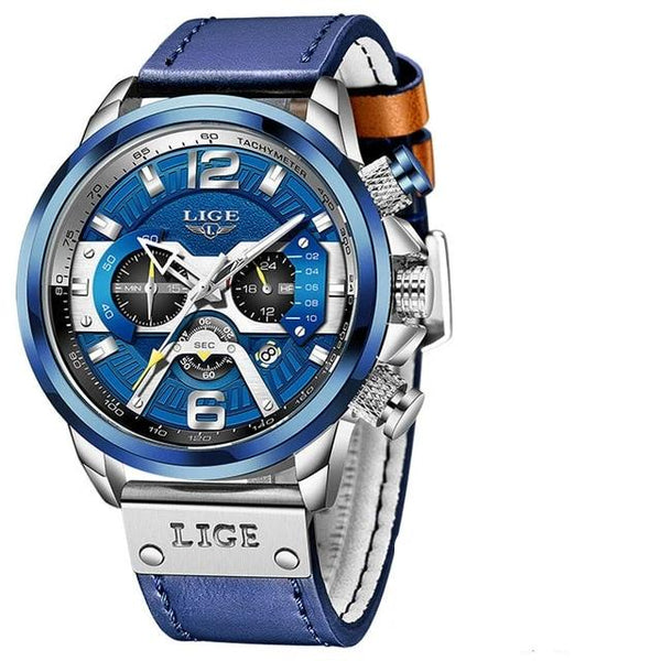Men Smart Watches Top Brand Luxury Blue Leather