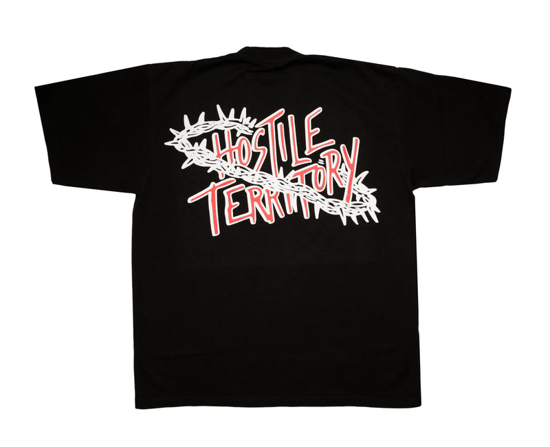 '' BARB WIRE '' HOSTILE TERRITORY  BLACK T - SHIRT