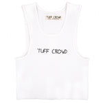 "WOMEN'S CROPPED RIB ""TUFF CROWD"" TANK - WHITE"