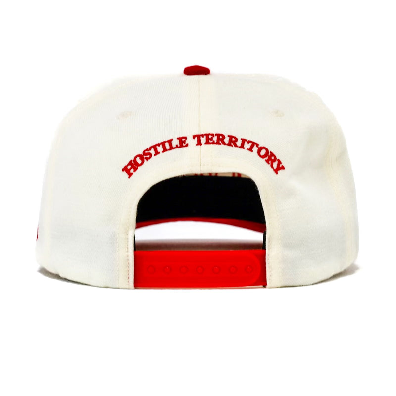 "OLD ENGLISH "" CUT & SEW '' OFF WHITE HAT ( RED )"
