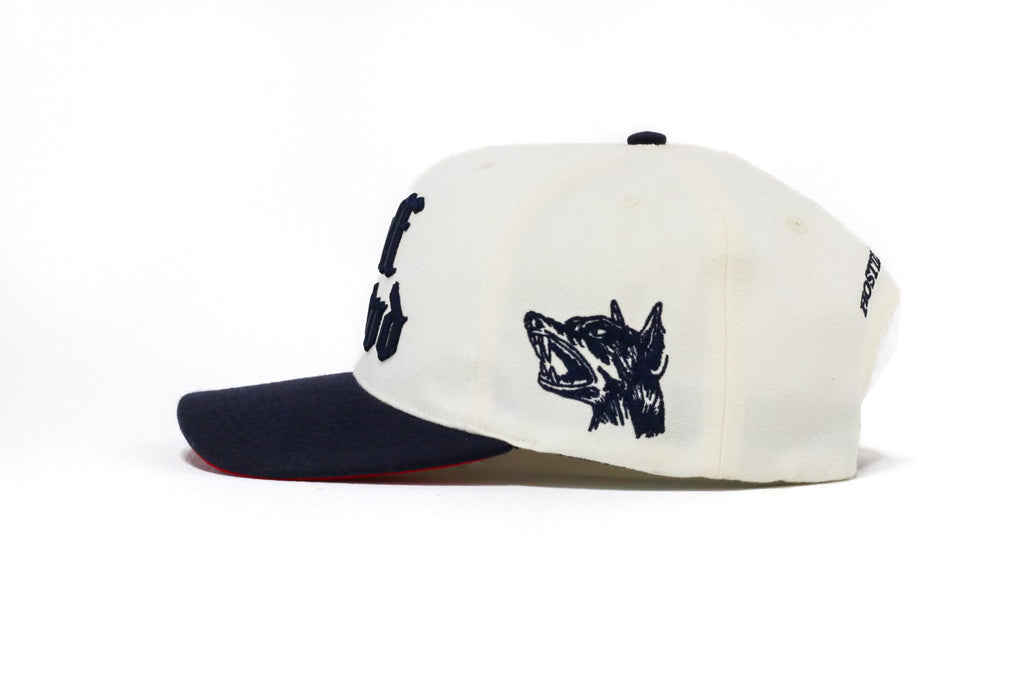 "OLD ENGLISH "" CUT & SEW '' OFF WHITE HAT ( NAVY BLUE )"