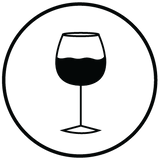 Glass of wine icon illustrating it's time to relax