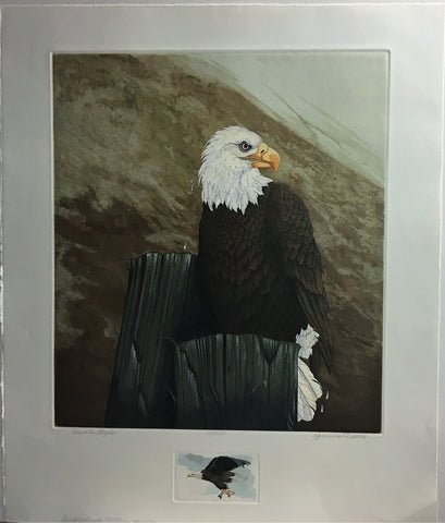 Double Eagle Hand colored limited edition Intaglio print by Yvonne Davis