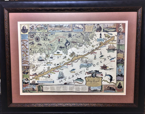 Framed Heirloom Map of Long Beach Island New Jersey