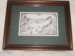 Custom framed Antique Postcard, Long Beach Island life saving boat
