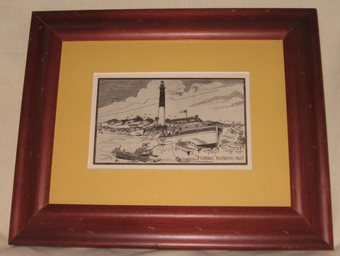 FRAMED ANTIQUE POSTCARD BARNEGAT LIGHTHOUSE, LONG BEACH ISLAND NEW JERSEY