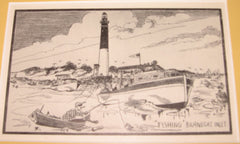 Framed Antique Postcard,  BARNEGAT LIGHTHOUSE, LONG BEACH ISLAND NEW JERSEY