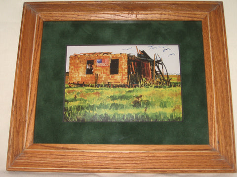 FRAMED ART PRINT, LBI (LONG BEACH ISLAND NEW JERSEY) SHACK WITH AMERICAN FLAG.