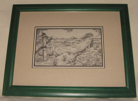 Antique postcard, Long Beach Island, New Jersey. Custom framed with green frame