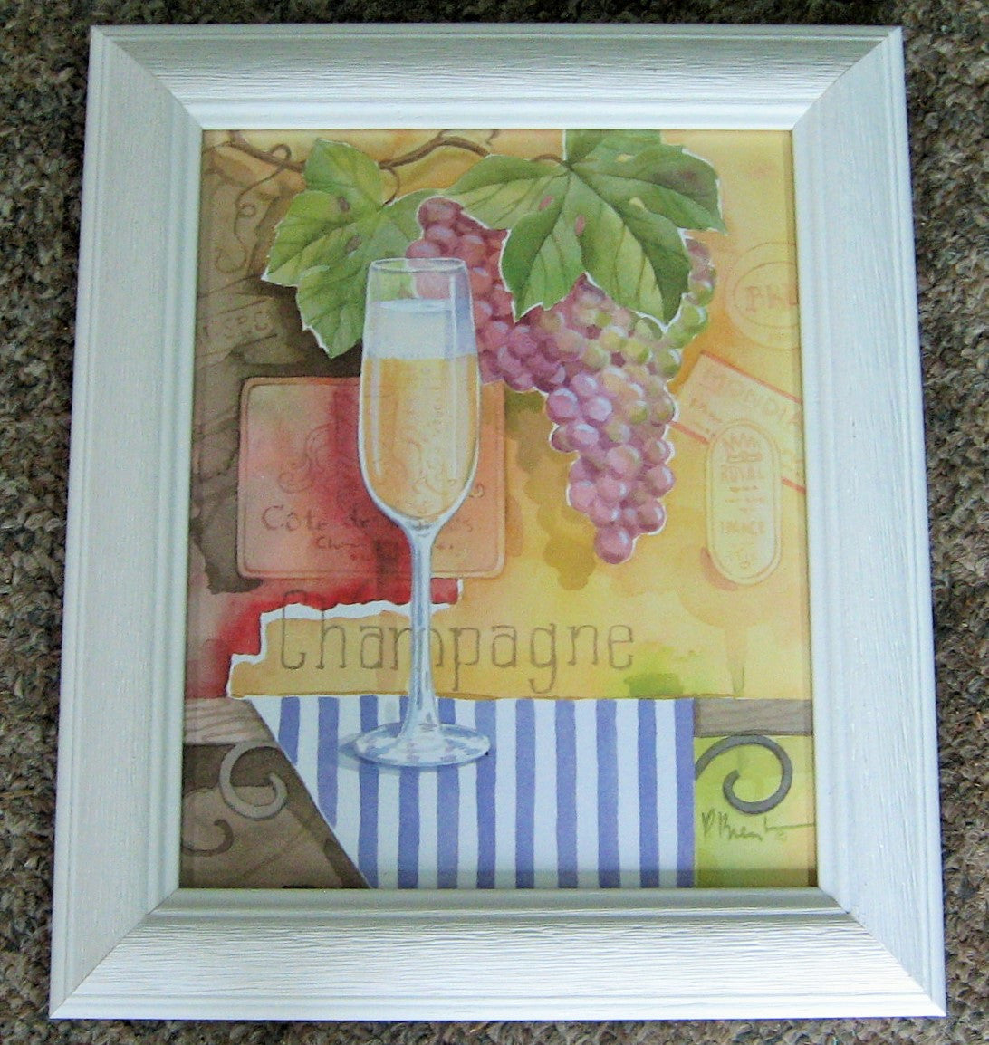 CUSTOM FRAMED WINE ART, ARTIST PAUL BRENT, WHITE DRIFTWOOD FRAME, CHAMPAGNE