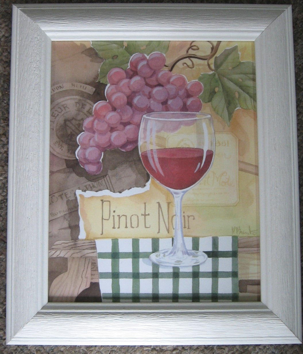 CUSTOM FRAMED WINE ART PRINT BY PAUL BRENT,PINOT NOIR,  WHITE DRIFTWOOD FRAME