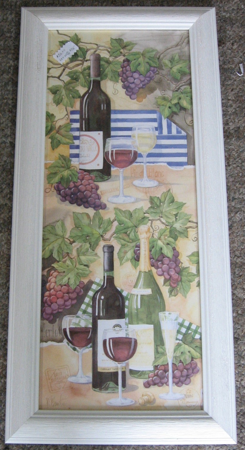 CUSTOM FRAMED ART PRINT, PAUL BRENT, WHITE DRIFT WOOD FRAME, WINE BOTTLES AND GLASSES