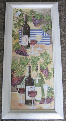 Custom Framed Art Print, PAUL BRENT ,White Drift Wood Frame, Wine Bottles and  Glasses