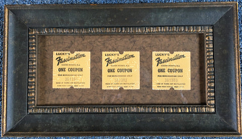 Framed tickets from Lucky's Fascination Amusement Park  Seaside Heights NJ
