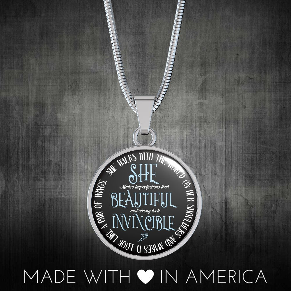 She Beautiful Invincible Necklace or Expandable Bangle | Gift for Mom, Wife, Daughter, Sister | Empowerment Gift for Extraordinary Women