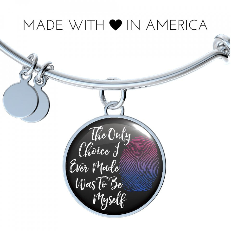 Bisexual Be Myself Handmade Bangle or Necklace Bangle Gifts for Her or Him Bracelet Charm