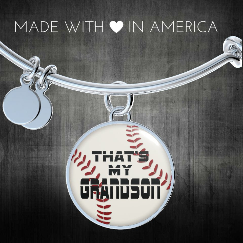 Baseball That's My Grandson Handmade Bangle or Necklace for Proud Grandparents