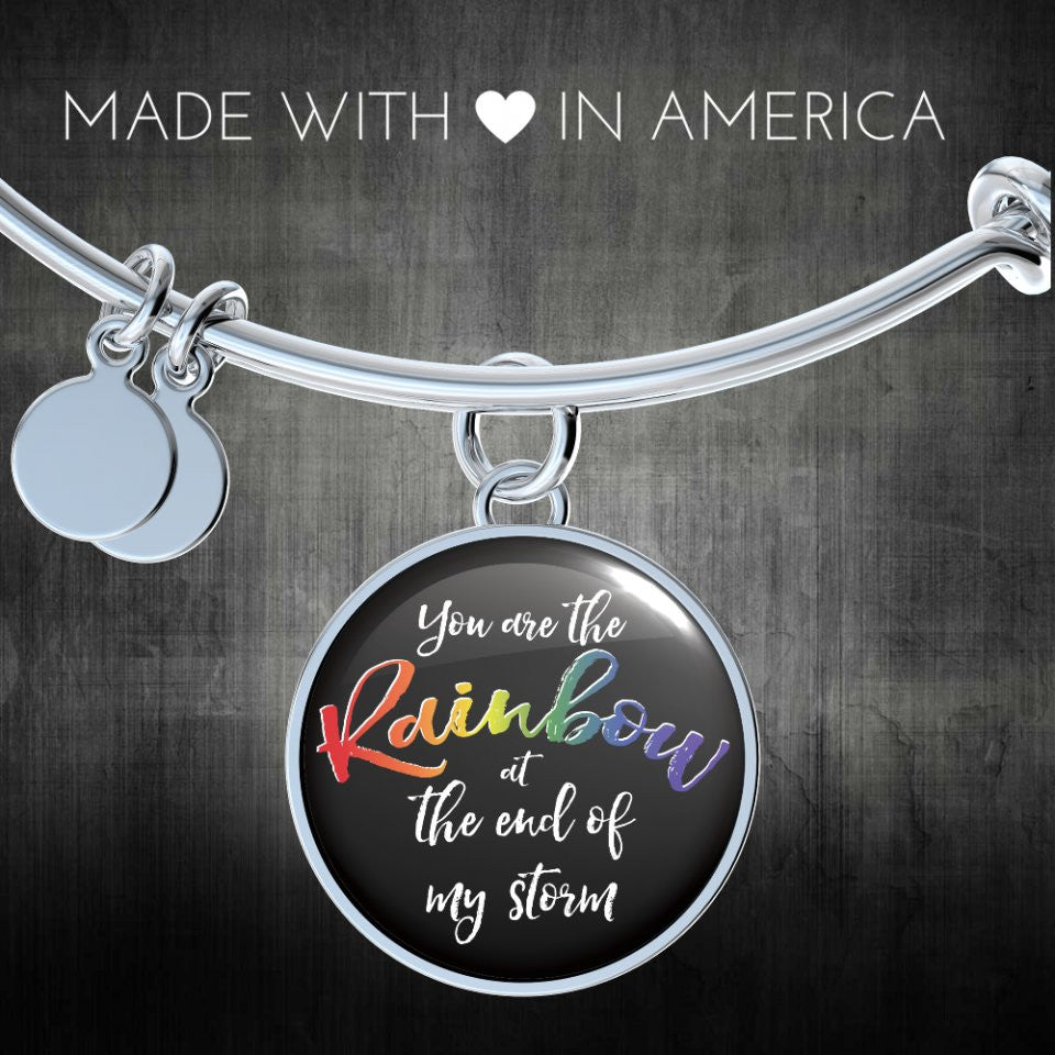 You Are The Rainbow At The End of My Storm LGBT Handmade Bangle or Necklace Bangle Gifts for Her Bracelet Charm