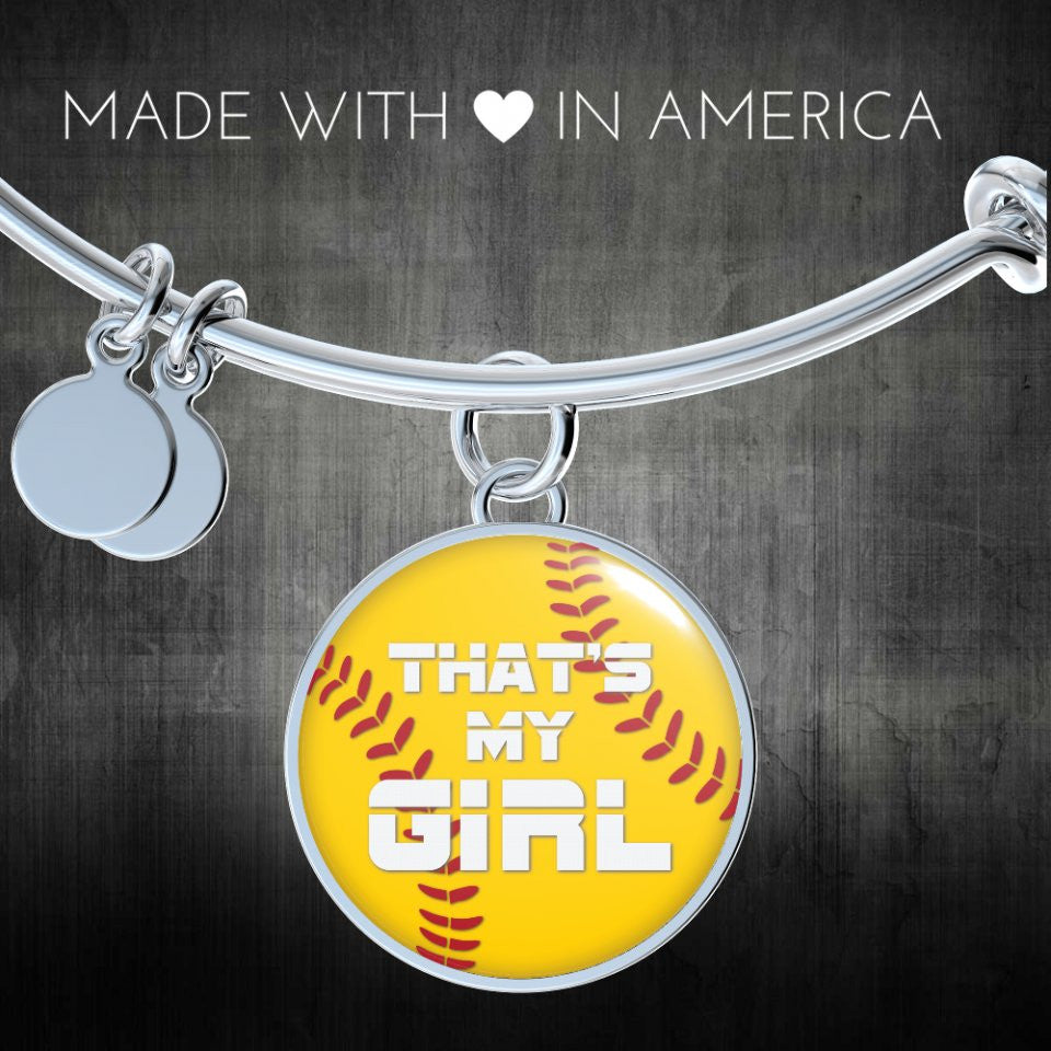 Softball That's My Girl Bangle or Necklace - Bangle Gifts for Her Bracelet Charm