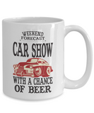 Weekend Forecast Car Show With Chance of Beer Mug