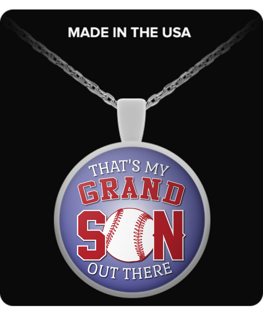 Baseball - That's My Grandson Out There - Lavendar Pendant