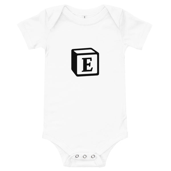 'E' Block Monogram Short-Sleeve Infant Bodysuit