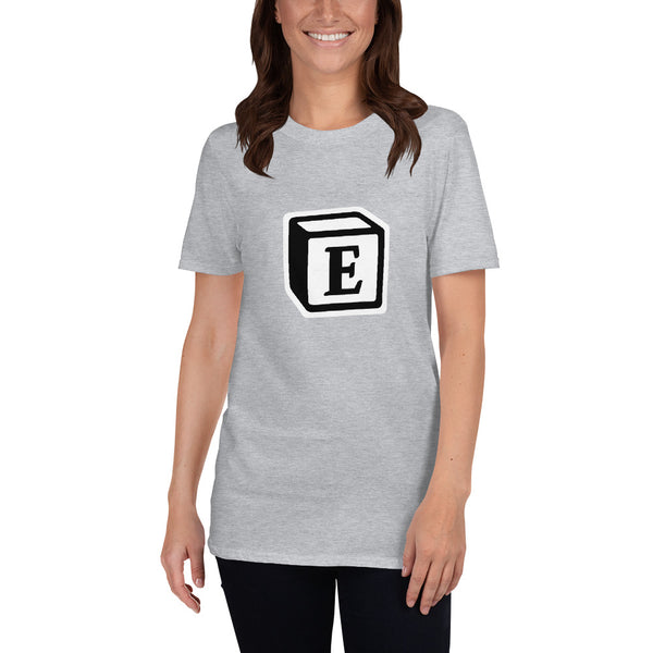 'E' Block Monogram Short-Sleeve Unisex T-Shirt