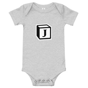 'J' Block Monogram Short-Sleeve Infant Bodysuit