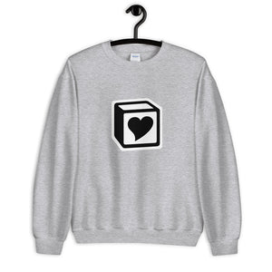 Heart Block Unisex Sweatshirt - Black/White Heart