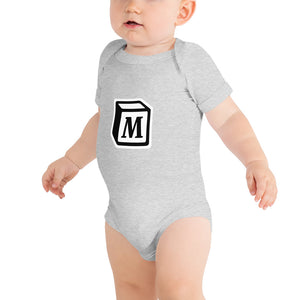 'M' Block Monogram Short-Sleeve Infant Bodysuit