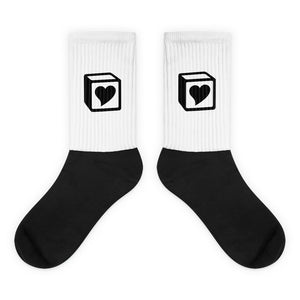 Heart Block Socks - Black Heart