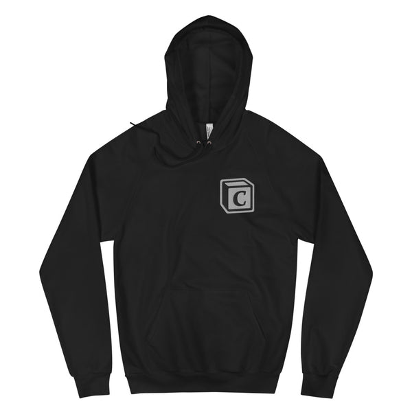 'C' Block Monogram Embroidered Raglan Fleece Hoodie, Unisex