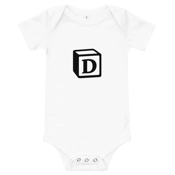 'D' Block Monogram Short-Sleeve Infant Bodysuit