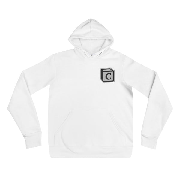 'C' Block Embroidered Monogram Pullover Hoodie, Unisex