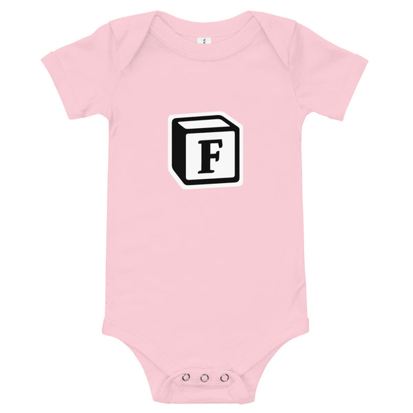 'F' Block Monogram Short-Sleeve Infant Bodysuit