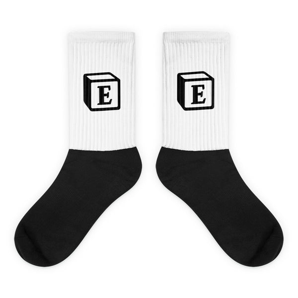'E' Block Monogram Socks