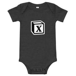 'X' Block Monogram Short-Sleeve Infant Bodysuit