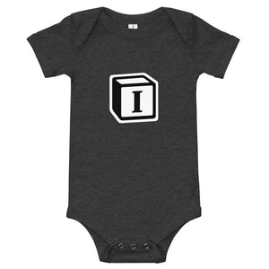 'I' Block Monogram Short-Sleeve Infant Bodysuit