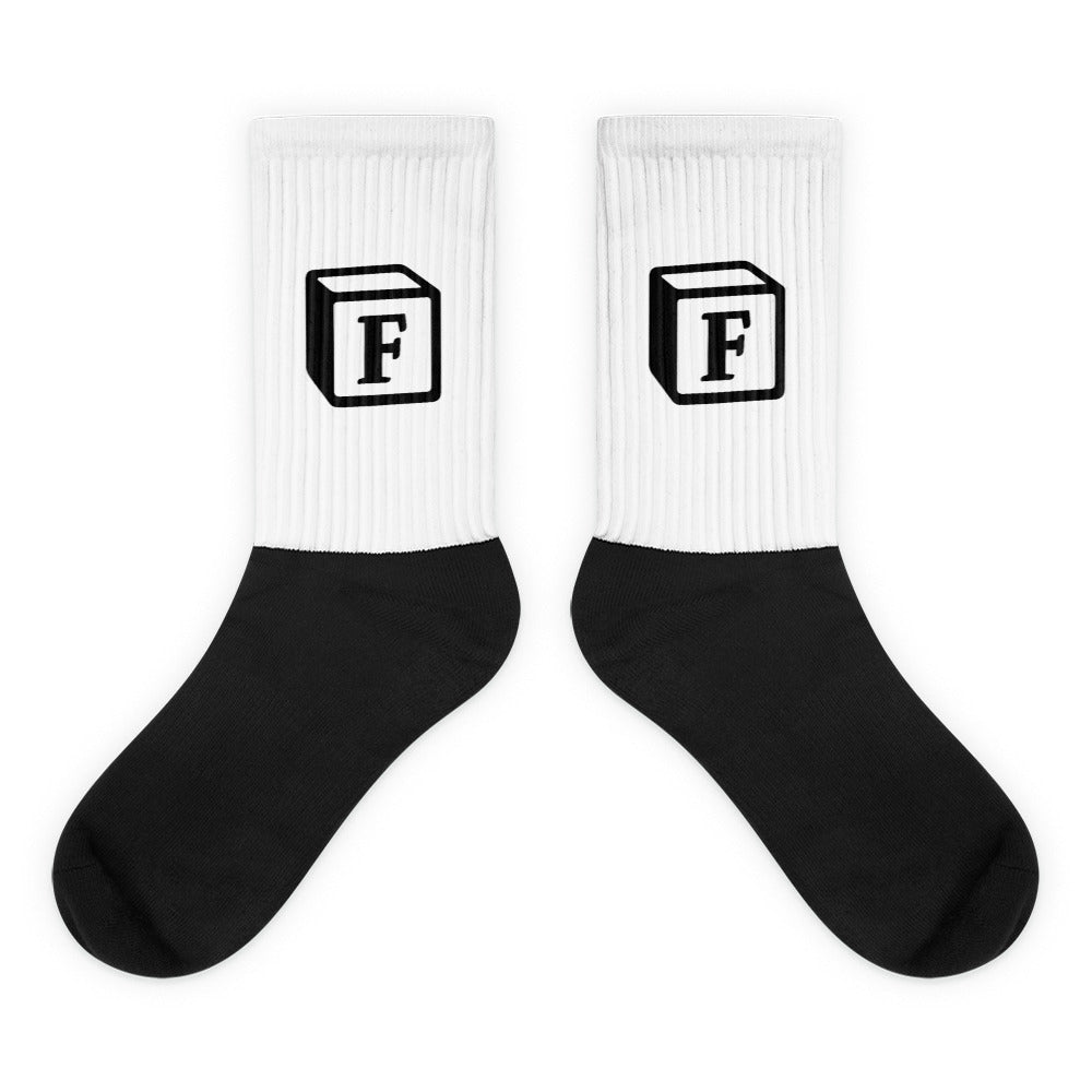 'F' Block Monogram Socks