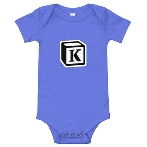 'K' Block Monogram Short-Sleeve Infant Bodysuit