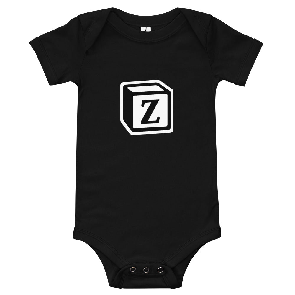 'Z' Block Monogram Short-Sleeve Infant Bodysuit